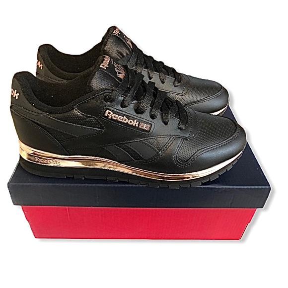 Reebok Shoes | Black Rose Gold Leather